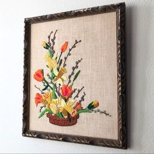 VINTAGE 70's Framed Floral Pot Crewel Embroidery W